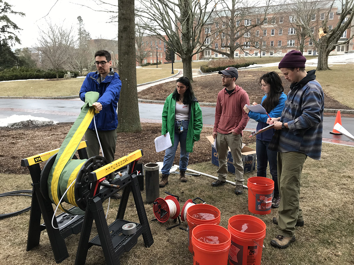 Graduate students learning about wells at UConn