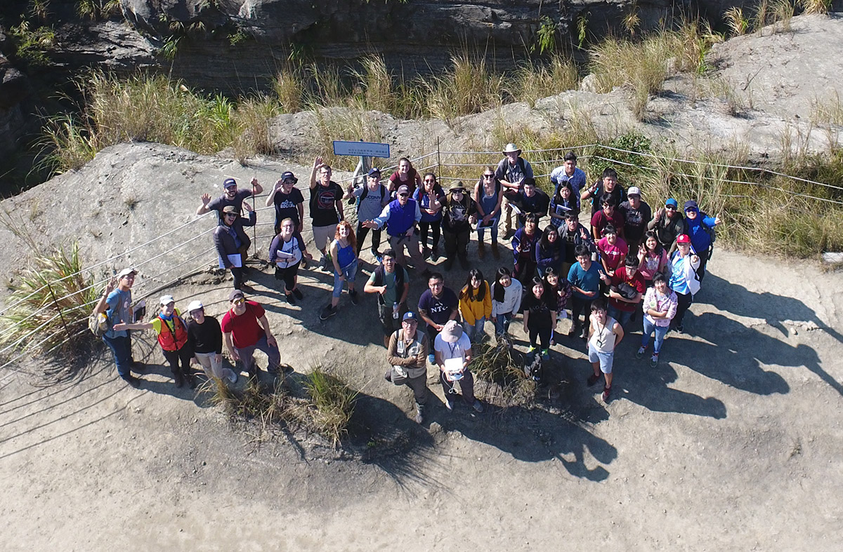 Drone sky view of students on field trip
