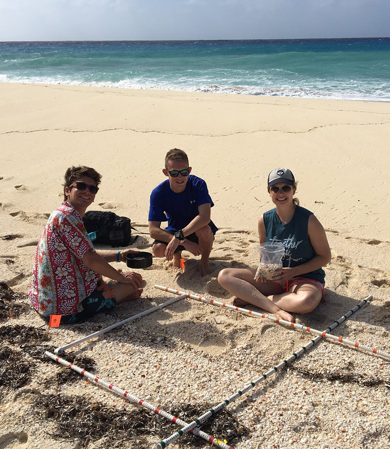 Students analyzing surface conditions in Bahamas